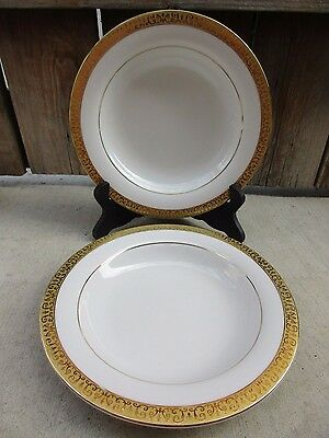 """2 Royal Gallery Gold Buffet 9"""" Rimmed Soup Bowls Gold Encrusted Band White Ctr"""