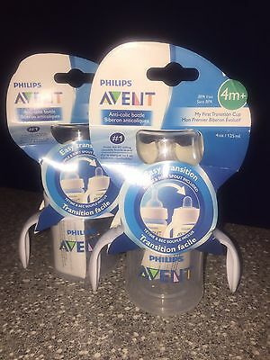 2 PHILLIPS Avent  BOTTLE SIPPY TRANSITION CUPS w Handles INCLUDE NIPPLES &SPOUTS