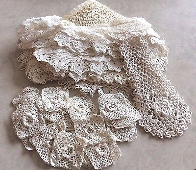 Antique French Dolls Handmade IRISH Lace RosettesJabot Cuffs Collar PearlButton