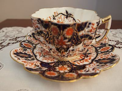 Wileman Foley Daisy Shape Cup and Saucer ' Japan Red and Blue' 6075