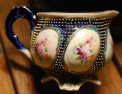 Antique Nippon CREAMER Heavy Gold Moriage Beading Hand Painted Puffed Flowers
