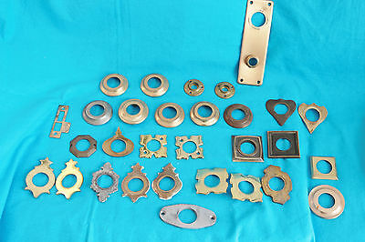 Vintage Lot Of Brass Door Handle Back Plates - 30 Pieces
