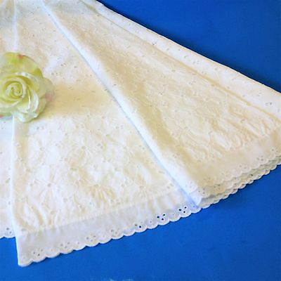 White Broderie Anglaise - 145 cm Round Table Cloth / Table Topper - BA Lace Edge