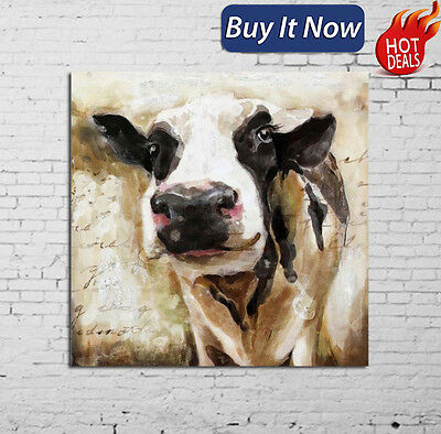 Cute Cow Hand-paint Vintage Abstract Oil Painting Wall Art Home Decor Unframed