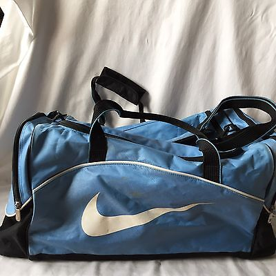 Nike Duffel Sports gym bag Blue, black, and white light weight nylon/ polyester