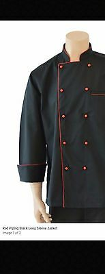 2 Chef Jackets 2XL Red Piping Black Long Sleeve