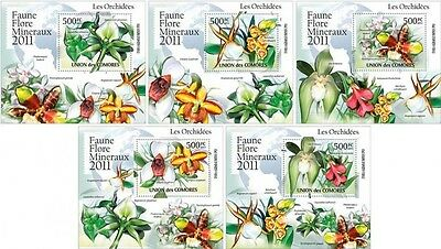 Z08 Cmdelux39perf Comores (Comores) 2016 Orchids 5 x s/s MNH