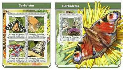 Z08 ST17103ab Sao Tome and Principe 2017 Butterflies MNH Mint Set