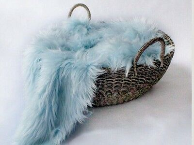 """Baby Blue Mongolian  Faux Fur Prop Newborn photography blanket 20""""x30"""" inches"""