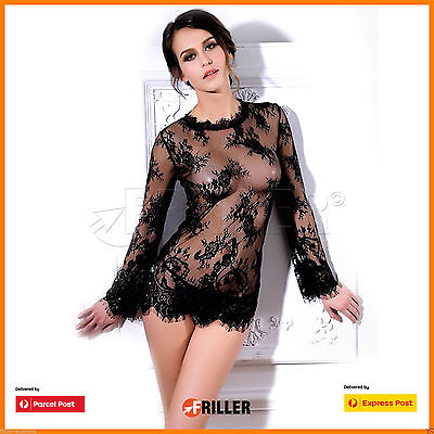 Womens Long Sleeve See-Through Lace Women's Sexy Women Dress Mystic  Black Style