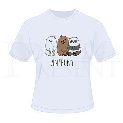 Personalised Childrens Boys We Bare Bears T-Shirt (White)