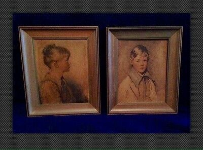 Lot Vintage Antique Portraits Artwork. Peter And Charlotte Signed And Dated.