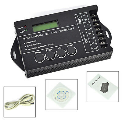 DC12-24V 240W 20A 5-Channel PC Programmable LED Strip Timer Dimmer Controller In