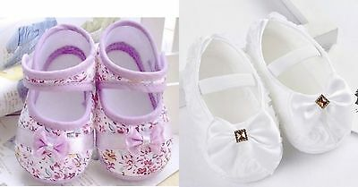 NEW baby shoes girl soft pram pink first pre walkers 3,6,9 months UK