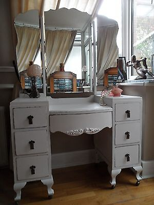 Sweet Vintage Painted French Deco Style Dressing Table Triple Mirror Shabby Chic