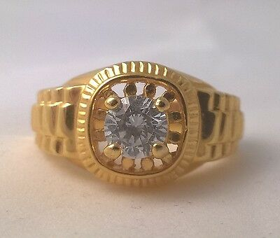 G-Filled Men's 18k yellow gold simulated diamond ring glistening Gents bling new