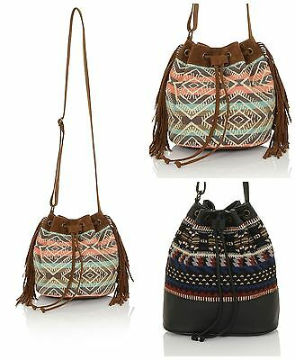 Ladies Aztec Vintage Long Strap Bohemian Drawstring Shoulder Bucket Pouch Bag