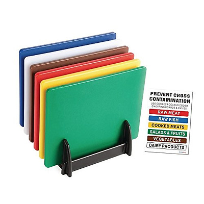 *BEST Food Safety Chopping Board Colour Coded Set Kitchen & Boards Storage Rack