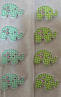Wooden Buttons Elephants (8) (D)