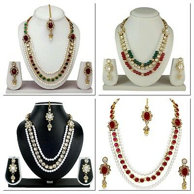 New Gold Tone Diamond & Kundan Multi Color Necklace Earrings Party Jewelry Set