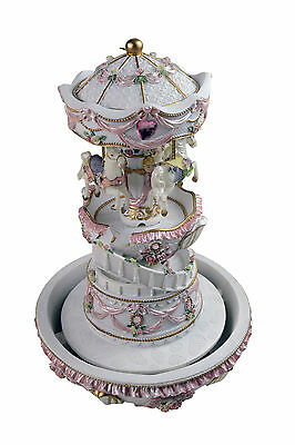 30cm Carousel Merry Go Round wind up Musical box Fountain baby music nursery toy