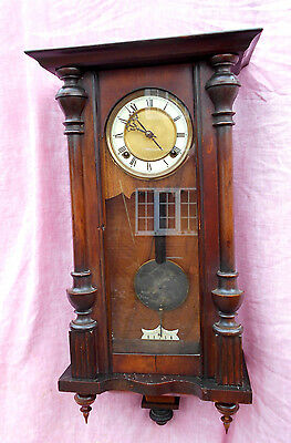 Old Oak Cased Chiming Vienna Wall Clock With Key In Excellent Condition And Gwo