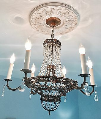 Antique French Empire Italian Macaroni Beaded Crystal Chandelier Balloon!!!