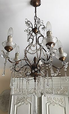 Antique French Italian Beaded Crystal Chandelier Maison Bagues Gilt Wood