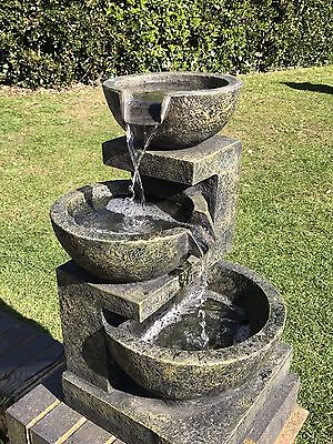 Grey/green 3 Bowl 2 Tier Granite Effect Self Contained Light Up Water Feature