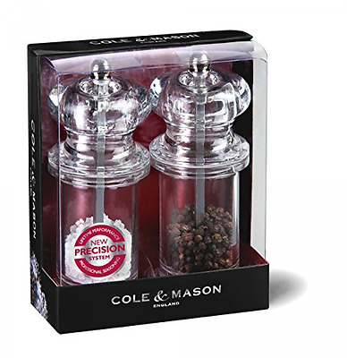 Cole & Mason Precision Grind 505 Salt and Pepper Mill Gift Set - Acrylic/Clear,