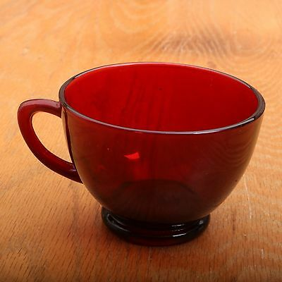 Vintage Ruby Red Glass Cup Mug Punch