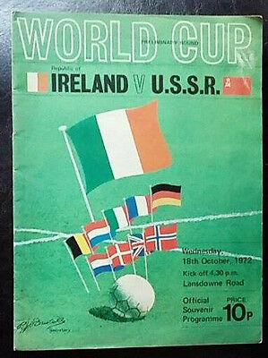 Republic Of Ireland V Ussr 18/10/1972 World Cup