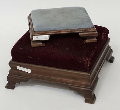Small blue foot stool, Small square burgundy Lot 304