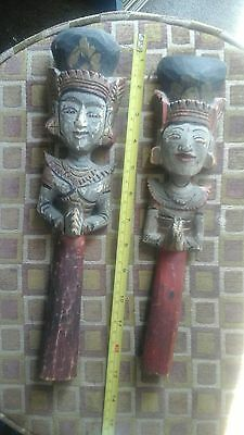 Antique Oriental Wise Men Wood Carving Painted Figurine Statue Good Condition