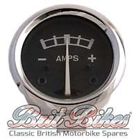 "AMMETER - Black Face with Metal Case - 1-3/4"" - various motorbike models 1936-68"