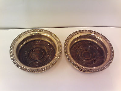 English Silver plate pair of Gadroon Coaster's circa 1930's