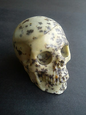 "Crystal Gemstone ""black Speckled Painting Stone"" -Highly Detailed Carved Skull !"