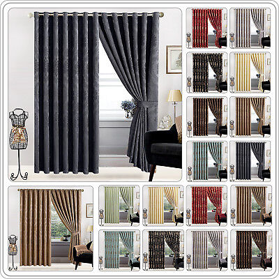 Jacquard Eyelet Ring Top OR Pencil Pleat Fully Lined Pair Curtains + 2 Tie Backs
