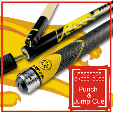 Three Sections BK3 Pool Punch & Jump Cue 13mm Tip Sport Handle 148.5cm