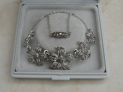 "Lovely Elegant 17"" Vintage 1940s Sparkly Marcasite Silver Tone Necklace"