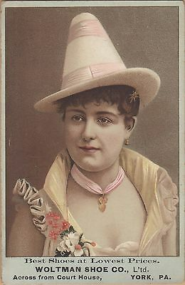 Large Victorian Trade Card-Woltman Shoe Co-York, PA-Fancy Dressed Woman
