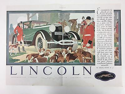 VERY RARE 1928 LINCOLN Double Page A3 Original French Colour Vintage Car Advert