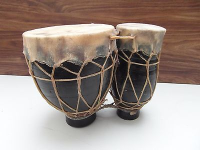Vintage Moroccan African Ceramic Thumb Bongo Drums Animal Skin Tops