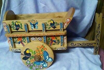 Vintage Hand Painted Wood Wagon Cart Costa Rica Folk Art