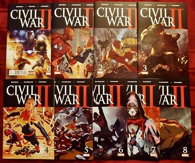 Civil War Ii (2) Lot Of 9 Books #0 1 2 3 4 5 6 7 8 Full Set (Marvel Comics 2016)