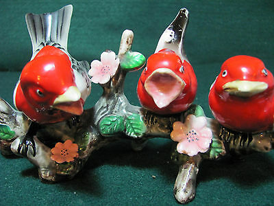 Vintage Porcelain Whimsical Mama Bird And Her Babies On A Branch