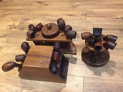 Vintage Estate Pipe Lot Of 18 With 3 Stands/Humidors