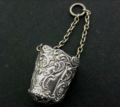 ANTIQUE SILVER THIMBLE HOLDER CASE BUCKET FOR CHATELAINE 1901 Birmingham