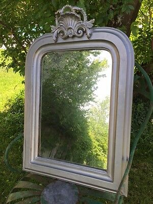 Antique FRENCH King Louis-Philippe MIRROR Silver Painted Frame Timeworn GLASS