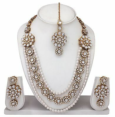 Indian Bollywood Style Fashion Gold Tone Necklace Earrings Bridal Jewelry Set